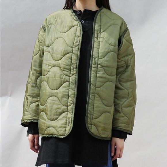 Vintage Military Surplus Jacket Liner Green